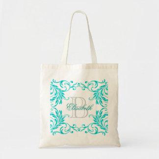 Monogram Aqua Blue Damask Tote Bag