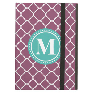 Monogram Aqua Blue Purple Quatrefoil Pattern iPad Air Cases