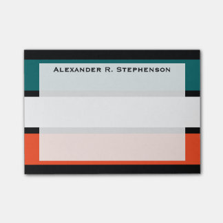 Monogram Aqua Blue, White, Orange Coral Stripes Post-it Notes