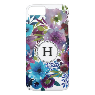 Monogram Aqua Boho Floral Bouquet iPhone 8/7 Case
