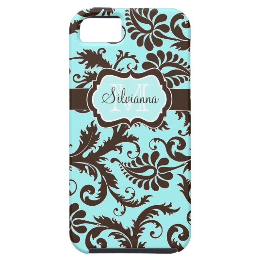 Monogram Aqua, Brown, White Floral iPhone 5 Case