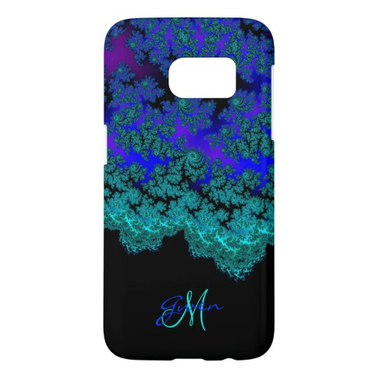 Monogram Aqua n Royal Blue Fractal Galaxy S7 Case
