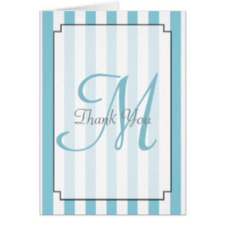 Monogram Aqua Striped Thank You Card