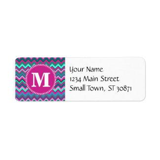 Monogram Aqua Teal Blue Pink Tribal Chevron Zigzag Return Address Label