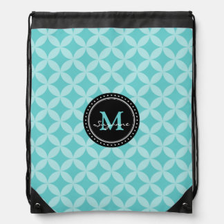 Monogram | Aqua Tone Abstract Circles & Diamonds Drawstring Bag