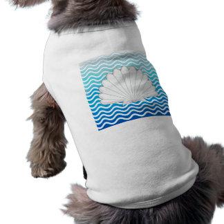 Monogram Aqua Turquoise Blue Wavy Stripes Pattern Doggie Tee Shirt