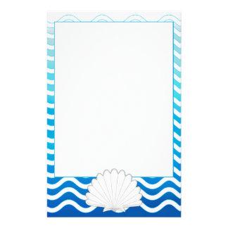 Monogram Aqua Turquoise Blue Wavy Stripes Pattern Stationery Design