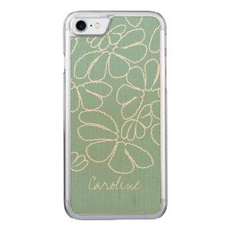 Monogram Aqua Whimsical Ikat Floral Doodle Pattern Carved iPhone 8/7 Case