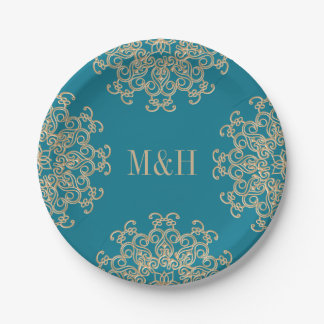 Monogram Aquamarine and Gold Indian Style Wedding 7 Inch Paper Plate