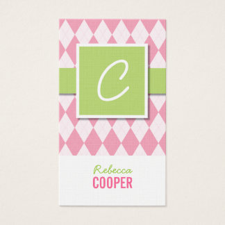 Monogram argyle business cards in pink