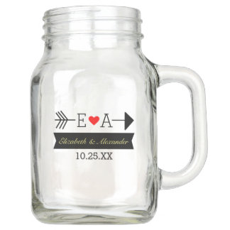 Monogram Arrow and Heart | Personalized Wedding Mason Jar