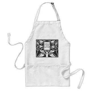 Monogram Art Nouveau Black 'n White Tree Standard Apron