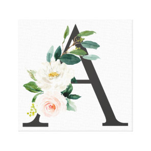 Monogram Art Print, Floral Letter A, Wedding Gift Canvas Print
