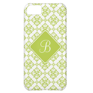 Monogram Atlantis Green Star Damask on White iPhone 5C Case