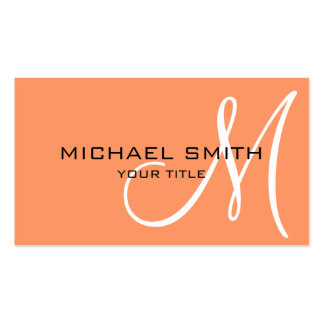 Monogram Atomic tangerine color background Pack Of Standard Business Cards