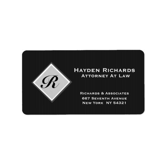 Monogram Attorney Lawyer Black Pinstripes Address Label