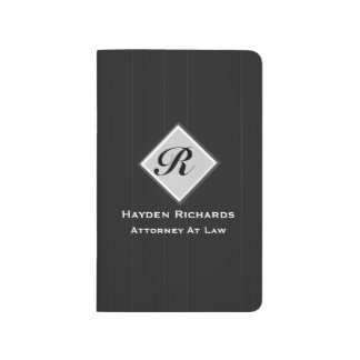 Monogram Attorney Lawyer Black Pinstripes Journal