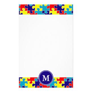 Monogram Autism Awareness Aspergers Puzzle Pattern Custom Stationery
