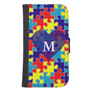 Monogram Autism Awareness Aspergers Puzzle Pattern Samsung S4 Wallet Case
