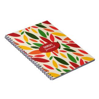 Monogram Autumn leaves orange red yellow Note Book
