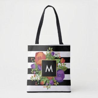 Monogram   Autumn Rose Bouquet Tote Bag