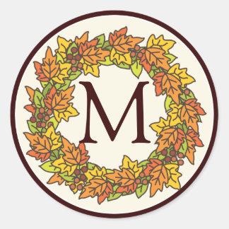 Monogram Autumn Wreath of Leaves Seal