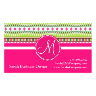 Monogram Aztec Andes Trial Mountains Diamonds Business Card Template