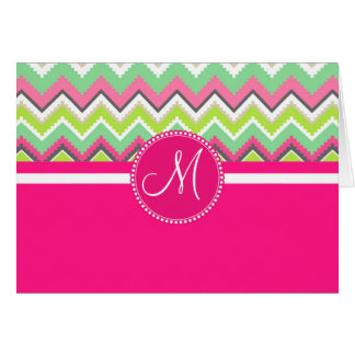 Monogram Aztec Andes Tribal Mountains Chevron Card