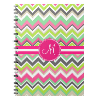 Monogram Aztec Andes Tribal Mountains Chevron Notebook