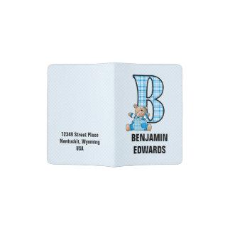 Monogram B Bear for Little Boy Traveler Passport Holder