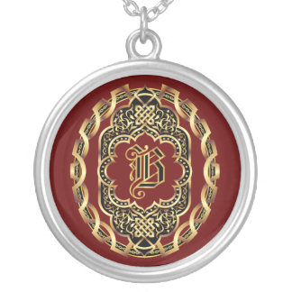 Monogram B Customize Edit Change Background Color Round Pendant Necklace
