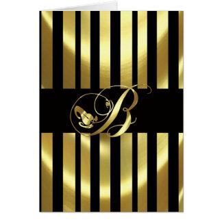 Monogram B Elegant Gold and Black Card