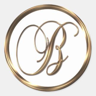 Monogram B Faux Bronze Round Sticker