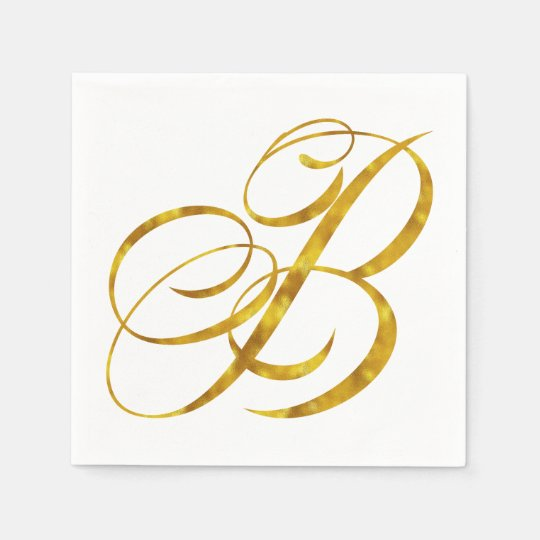 Monogram B Faux Gold Foil Metallic Letter Design