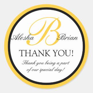 Monogram B Wedding Favour Thank You Stickers