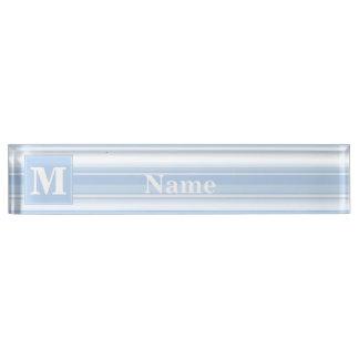 Monogram baby blue stripes name plate