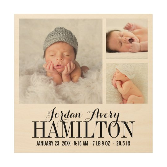 Monogram Baby Photo Collage Print on Wood