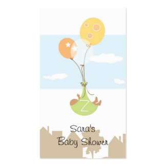 Monogram Ballon Baby Shower Party Favor Tag Pack Of Standard Business Cards