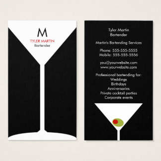 Monogram Bartending Business Card - Black & White