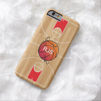 Monogram Basketball on Basketball Court Barely There iPhone 6 Case