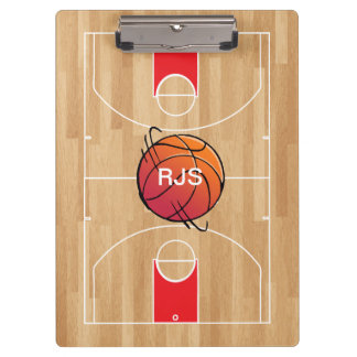Monogram Basketball on Basketball Court Clipboard