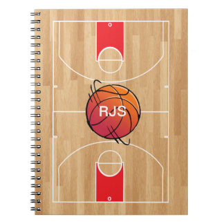 Monogram Basketball on basketball court Notebook