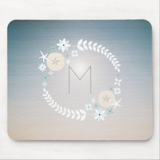 Monogram Beach Wreath Sunset Sky Mousepad