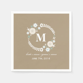 Monogram Beach Wreath Wedding Napkins Disposable Napkins
