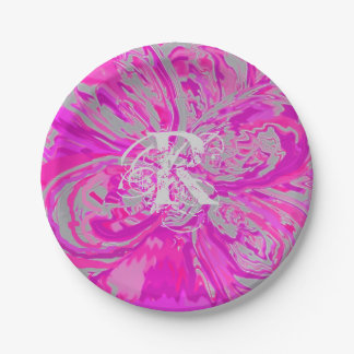 "Monogram Beautiful Fuchsia Pink Paper Plates 7"""