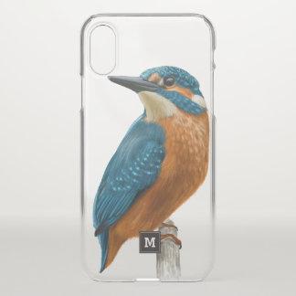 Monogram. Beautiful Kingfisher. Bird Illustration. iPhone X Case