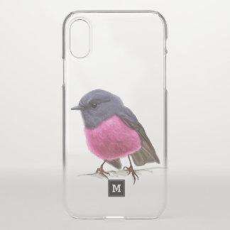 Monogram. Beautiful Pink Robin Illustration. iPhone X Case