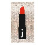 Monogram Beauty Sequin Cute Makeup Artist Lipstick Pack Of Standard Business Cards