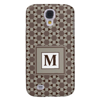 Monogram Beige and Brown Tessellation Pattern Galaxy S4 Case