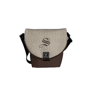 Monogram Beige/Brown Circles Pattern Custom Bag Commuter Bags